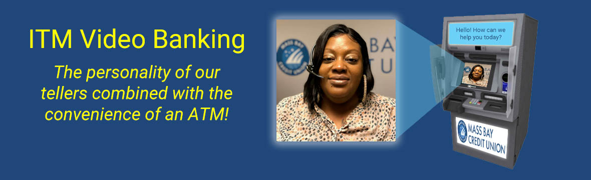 ITM video banking banner, blue background. South Boston Teller.